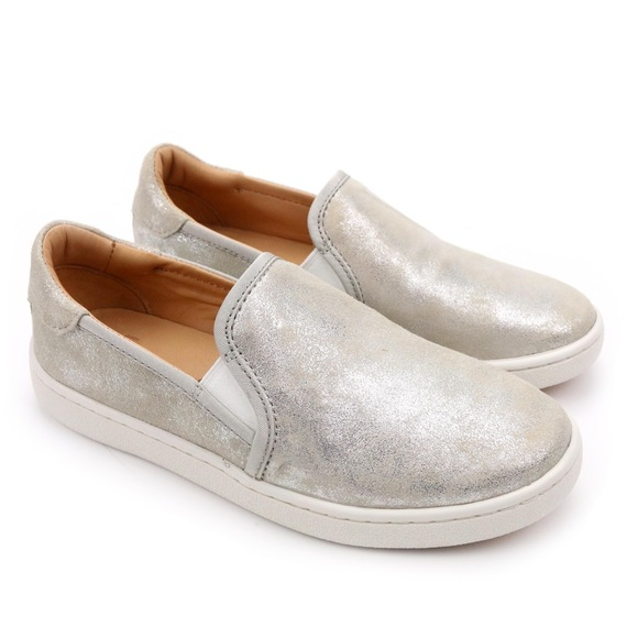 415aaeded1821 UGG Cas Stardust Metallic Silver Leather Sneakers Boutique